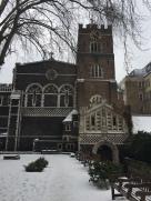 A snowy St. Bart's Church for the RCM Wind Ensemble Concert