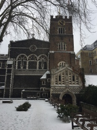 A snowy St. Bart's Church for the RCM Wind Ensemble Concert
